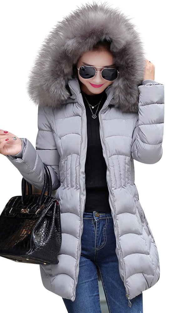 Mojessy Women's Parka Winter Coat Overcoat Long Down Jacket Outwear X-Large Grey