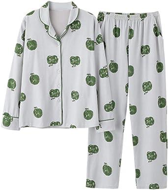 Pijamas para Mujer, Señoras Pijama Algodón Novedad Linda Niña Manzana Ropa De Dormir Pijamas Largos Y Largos Pantalones Ropa De Dormir Verde 3XL: Amazon.es: Ropa y accesorios