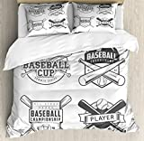 Lunarable Sports Queen Size Duvet Cover Set, College Baseball Logos Vintage Greyscale Composition of Labels of Teams, Decorative 3 Piece Bedding Set with 2 Pillow Shams, Charcoal Grey and White