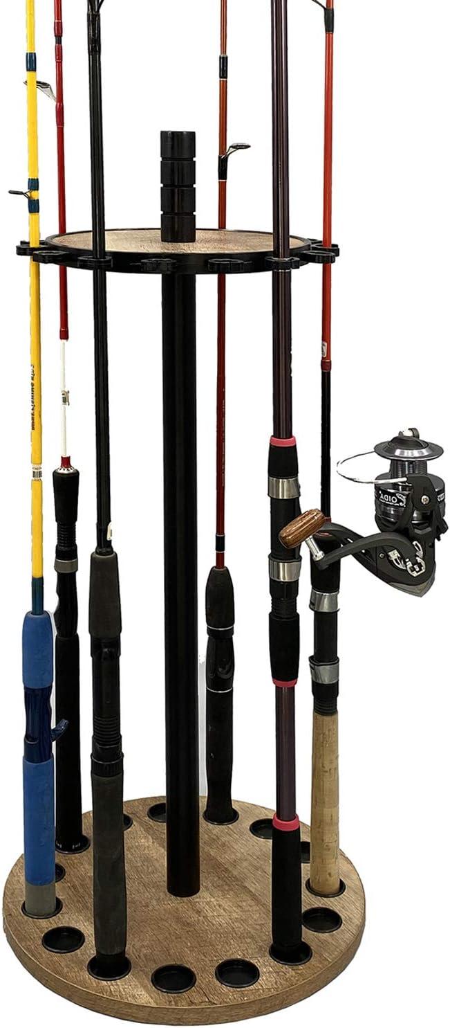 CENSI 15 Round Fishing Pole Rod Storage Rack Holder with Spinning Base