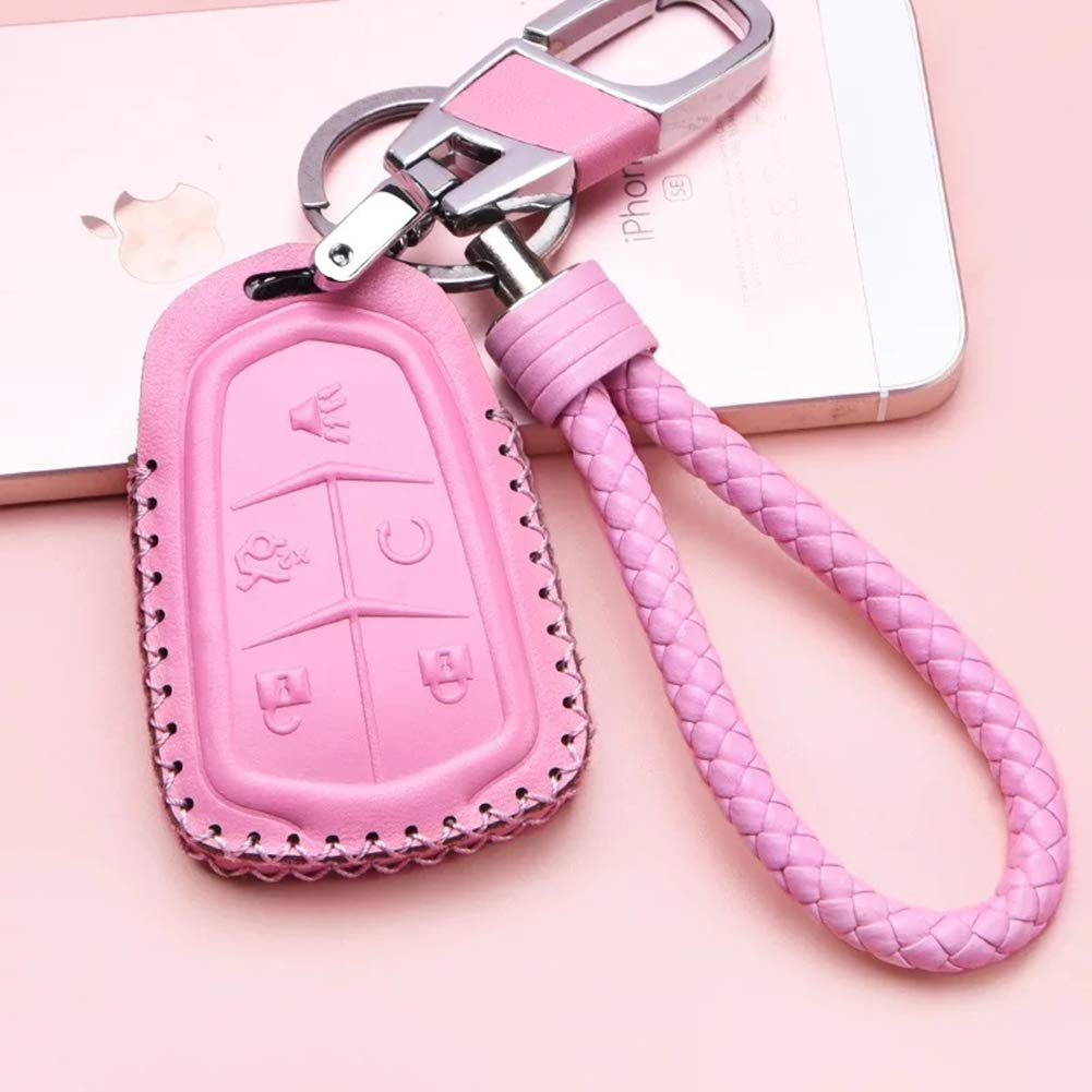 WAFERN Leather Car Remote Key Fob Holder Case Cover Etui Shell with Braided Key Chain /& Key Rings for 5 Buttons New Cadillac ESV Escalade GTS CTS XTS SRX ATS XT5 CT6 Auto Accessories Gift in Black