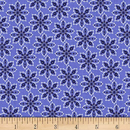 - David Textiles Deco Floral Blue/Navy Fabric Fabric by the Yard