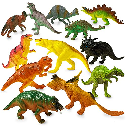 DINOSAUR TOYS Party Favors Figures - 12 Pack - 5.5 Inches - Safe Material, Assorted Realistic Large Dinosaur Figurines For Kids - For Birthday Party, Decoration, Gift, Prize, Toys For ()