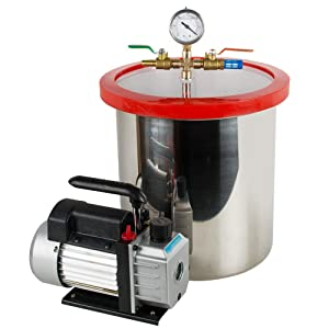 Tinsay 5 Gallon Stainless Steel Vacuum Degassing Chamber Silicone Kit with 3 CFM Pump Hose-US Shipping, 3-6 Days Delivery