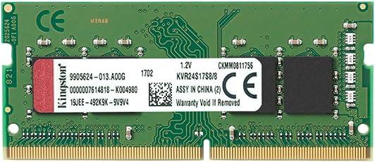 Kingston Technology ValueRAM 8GB DDR4 2400MHz Module 8GB DDR4 2400MHz Módulo de - Memoria (8 GB, 1 x 8 GB, DDR4, 2400 MHz, 260-pin SO-DIMM, Verde)