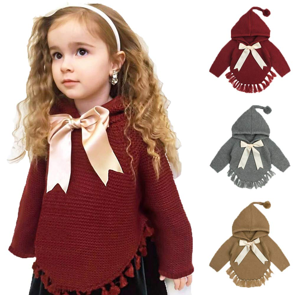 DDLBiz Infant Baby Boys Girls Bow Tassel Knitted Hooded Tops Sweater Outfits (Red, 12M)