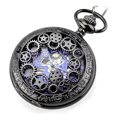 AK Tradicional con un reloj de bolsillo hueco de cadena Modelos para hombres y mujeres Reloj de bolsillo universal Reloj de bolsillo mecánico con tapa para estudiante: Bricolaje y herramientas