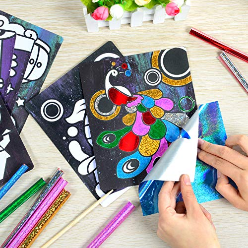 Handmade Kids - RM Studio 9 Style Children's DIY Parkle Mosaic Sticker Painting Art, DIY Handmade Arts and Crafts for Kids Boys and Girls on Holiday Idle Time - Educational Crafts Toys