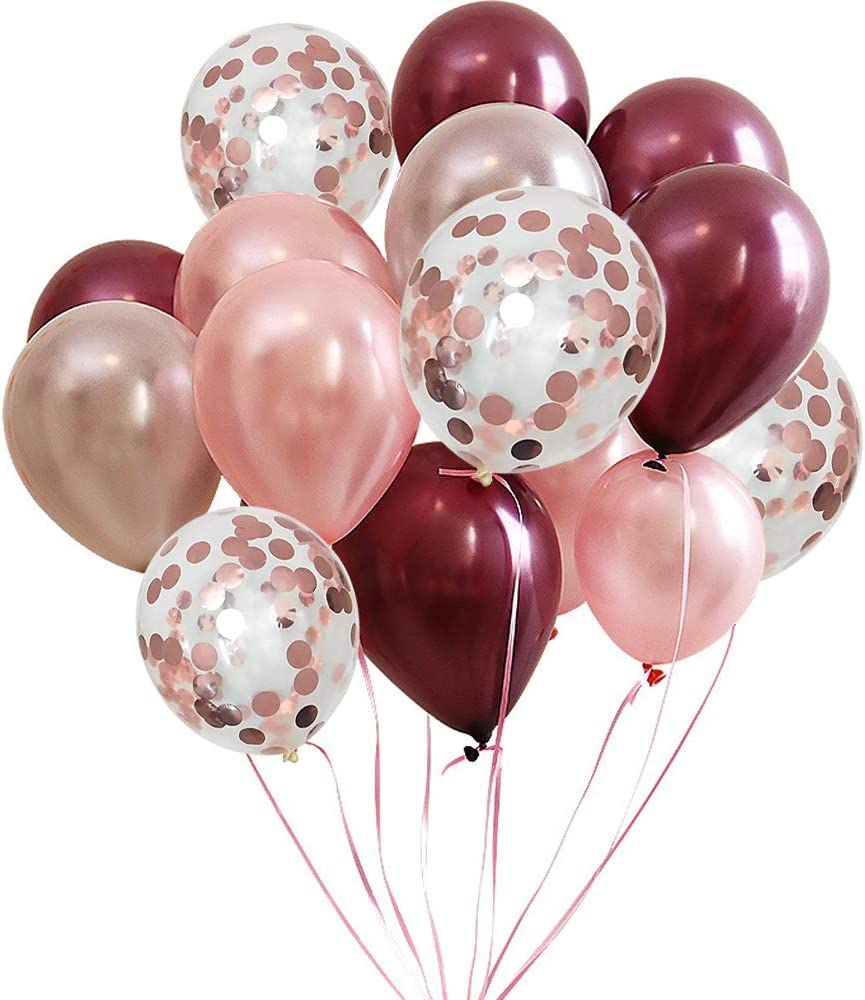 FUNPRT Burgundy Latex Balloon and Rose Gold Confetti Balloons 12 inch 50 Count