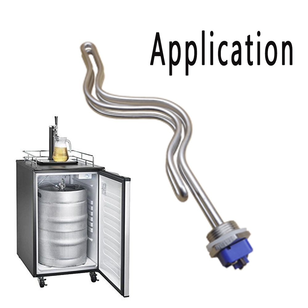 Dernord 240V 5500W Immersion Ripple Foldback Brewing Water Tubular Heater Element with 1 Inch NPSM Thread White