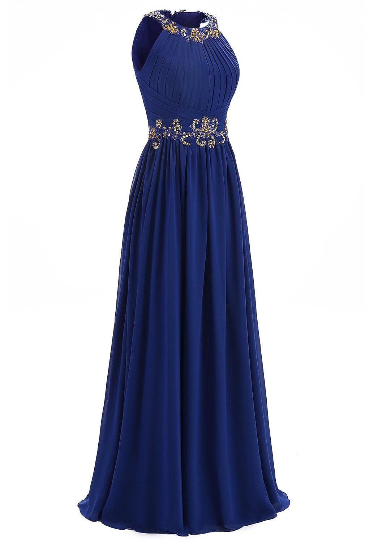 La Vogue Womens Halter Chiffon Dress Long Prom Dress Beads Evening Dresses at Amazon Womens Clothing store: