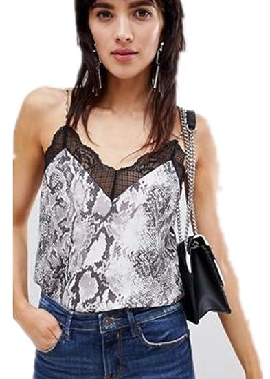 8d94849ceb Mua Women s Lace Sleeveless Leopard Snake Print V Neck Cami Tank Top ...