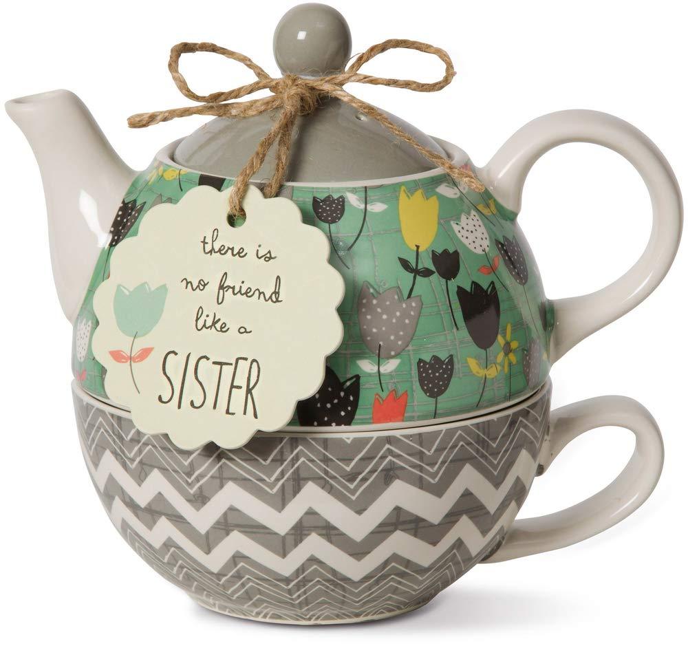 Pavilion Gift Company 74069 Bloom Sister Ceramic Tea for One, 15 oz, Multicolor by Pavilion Gift Company