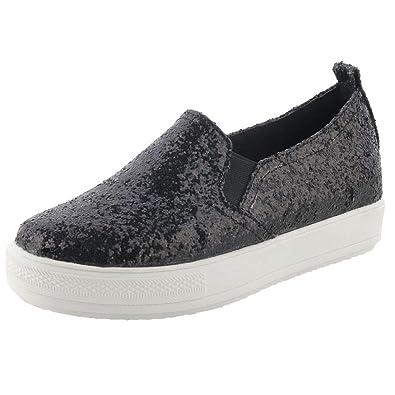 bc507fbb793 Vitalo Womens Sparkle Slip On Sneakers Glitter Trainer Flat Shoes Size 4  B(M)