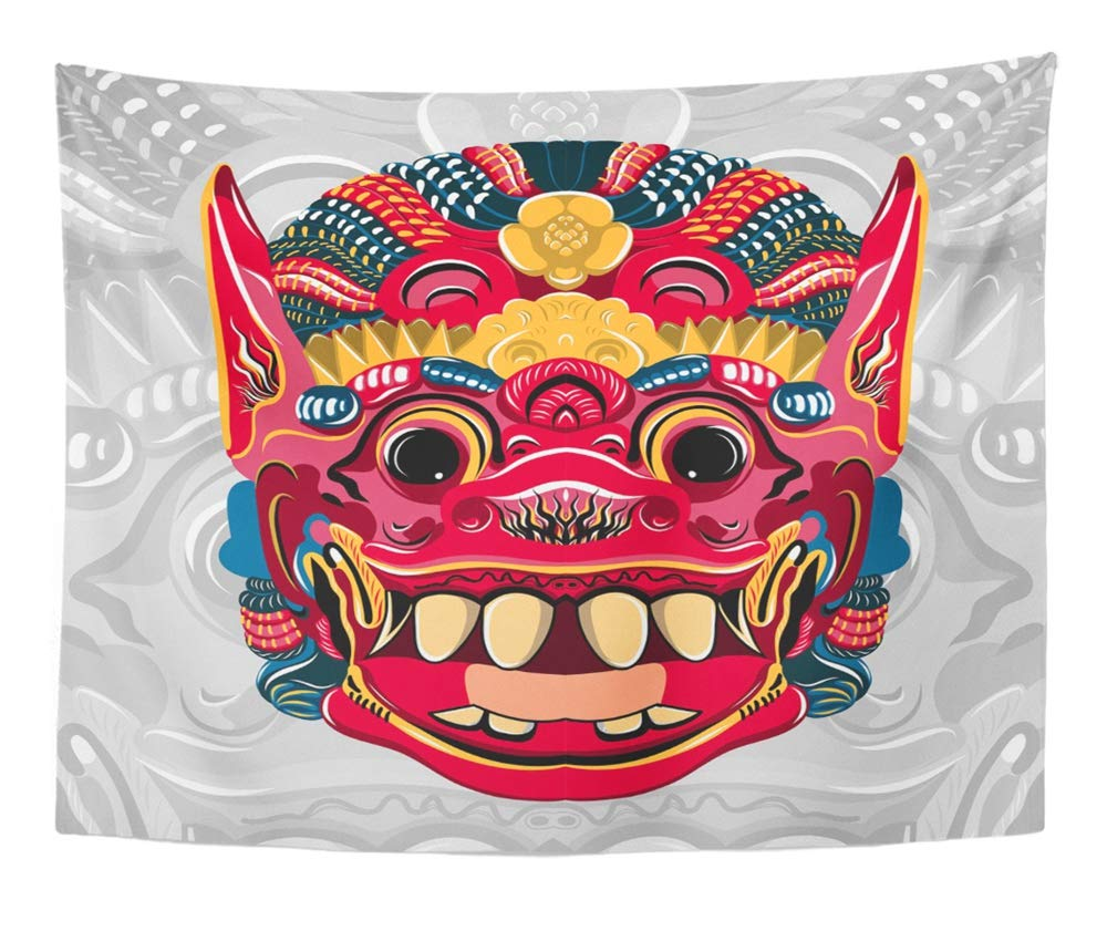 Emvency Tapestry Artwork Wall Hanging Colorful Abstract Todsakan Face Which is The Demon King in Thai Khon White Asia 50x60 Inches Tapestries Mattress Tablecloth Curtain Home Decor Print by Emvency