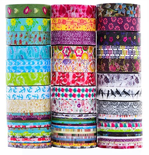 24 Rolls Washi Tape Set, 8mm Wide Decorative Masking Tape,Festival Gift Wrapping Party Supplies]()