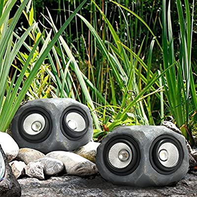"9""Dural Head Solar Powered Super Bright Garden Solar Rock Lights Outdoor Color Changing"