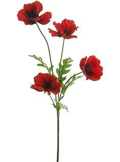10 x artificial red 45cm poppy flowers amazon kitchen home wild meadow poppy spray silk flower stem with 4 heads quality artificial flowers in a choice mightylinksfo