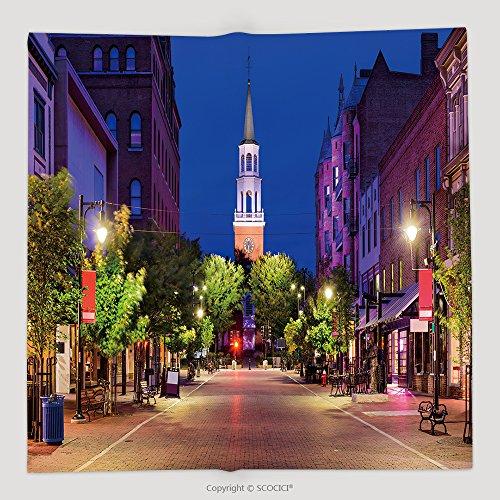 Custom Burlington Vermont Usa Cityscape At Church Street Marketplace 493346407 Soft Fleece Throw - Rochester Marketplace