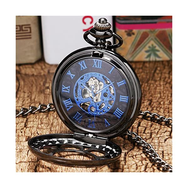 Luxury Men Pocket Watch with Chain Roman Numberal Hollow Steampunk Skeleton Mechanical Watches 4