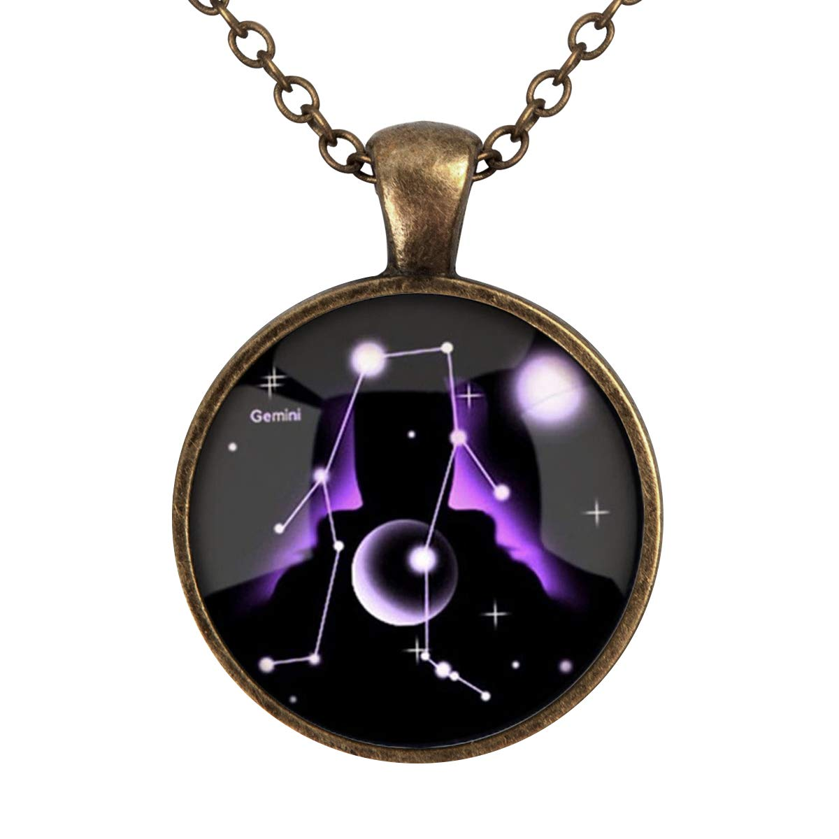 Lightrain 12 Constellations Gemini Pendant Necklace Vintage Bronze Chain Statement Necklace Handmade Jewelry Gifts