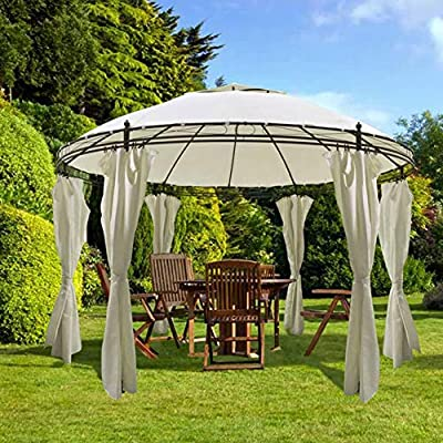 wosume Round Gazebo, with Curtains 11' 5'' X 8' 9'' Shelter for Family Gatherings, Barbecues, Picnics, Camping Parties : Garden & Outdoor
