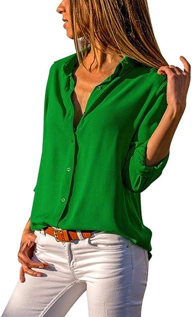 Firally - Camisas - Liso - Redondo - Manga larga - para mujer Verde L: Amazon.es: Ropa y accesorios