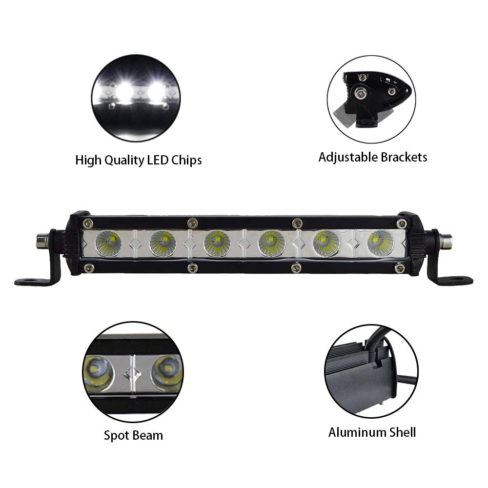 Rigidon Barra LED 15W 13cm Barras de Luz de Trabajo Unica Fila Foco Led 12V 24V 6000K Faro Led IP67 Impermeable Focos Led Coches 4x4 Tractors Caminos Barcos ATV UTV SUV 4WD