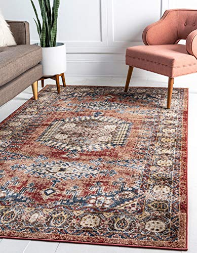 Unique Loom Utopia Collection Traditional Geometric Tribal Warm Tones Terracotta Area Rug (8' 0 x 10' 0) (Brand Tribal Rugs)