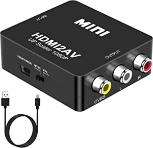 HDMI to RCA, DIGITNOW 1080P Mini HDMI to Analogue AV 3RCA CVBS Composite HD Video Audio Converter Adpter Supports PAL/NTSC for PC Laptop PS4 PS3 Xbox Blue-Ray HDTV Camera DVD