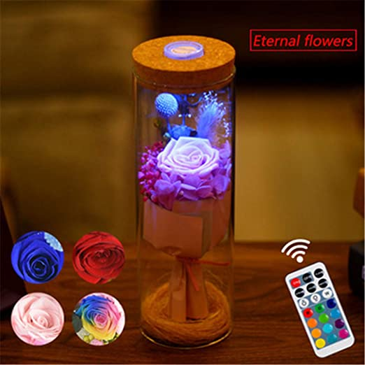 PDDXBB Lámpara Reguladora Led RGB Luz De Botella De Flor Rosa con ...