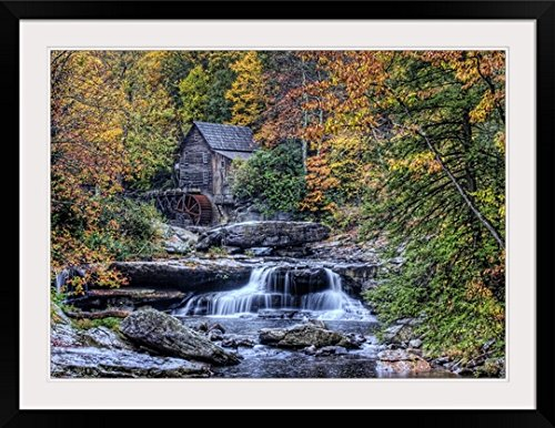 greatbigcanvas-glade-creek-grist-mill-babcock-state-park-photographic-print-with-black-frame-36-x-26