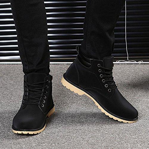Herren Stiefel,Kingko® Herren Warm gefüttert flache Stiefel Winter Casual Outdoor Street Schuhe (Kleiner als üblich) Schwarz