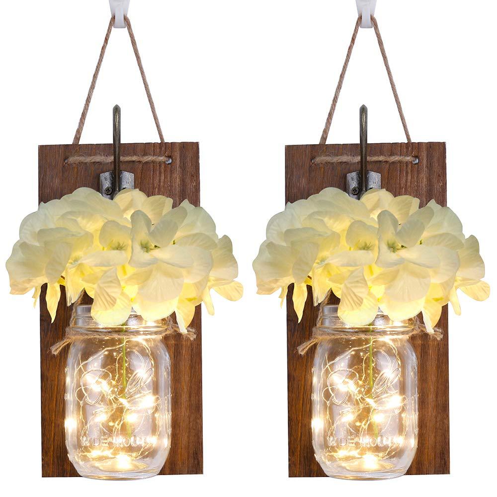 Set of 2 Rustic Wall Sconces Mason Jar Lights, Home Decor Wrought Iron Hooks Warm White LED Strip Fairy Lights and Silk Hydrangea (White Flower and Purple Flower)