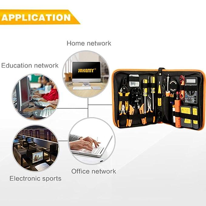 soldador probador de cables LAN//Cat5e//Cat6 alicates de pelado Kits de herramientas inform/áticas: herramientas de mantenimiento de cables de red profesionales 17 en 1: conectores RJ45//RJ11//8P8C