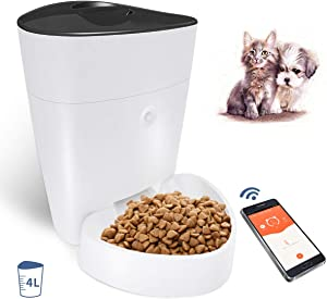 OWON Automatic Cat Feeder, 4L Dog Food Container, WiFi Smart Pet Feeder Controlled by iPhone & Android, Programmable Timer Up to 8 Meals Per Day Dog Cat Food Dispenser