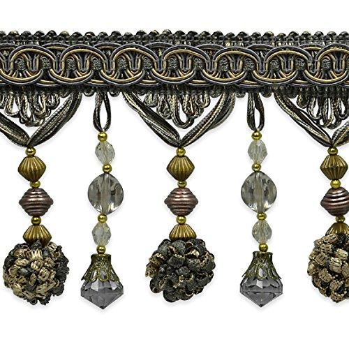 Expo International Preshea Decorative Beaded Fringe Trim Embellishment, 20-Yard, Pewter