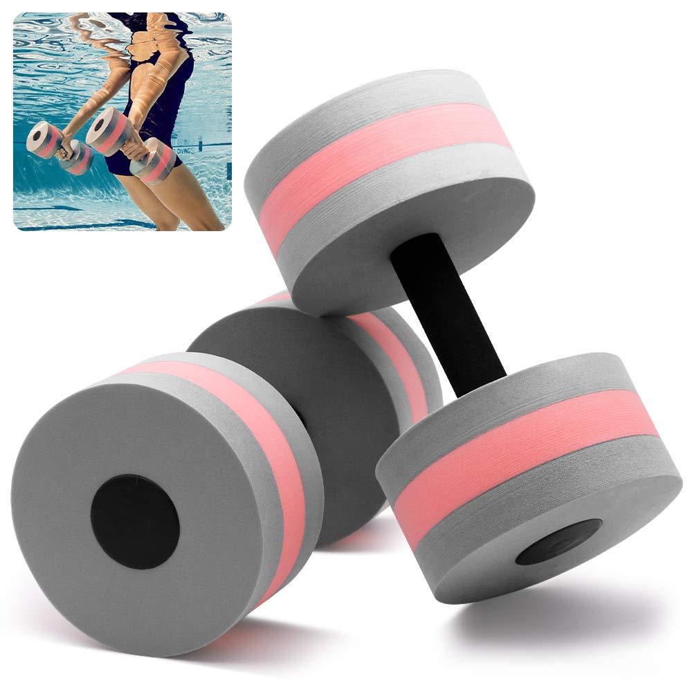 Kxuhivc Water Dumbbells Aquatic Exercise Dumbells Water Aerobics Workouts 2PCS Foam Barbells Hand Bars Pool Resistance…
