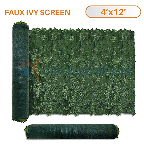 Sunshades Depot 4' x 12' Artificial Faux Ivy Privacy Fence Screen Leaf Vine Decoration Panel with Mesh - Ivy Sun
