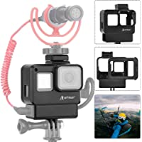 Artman Hero 7 Black Vlogging Case Protective Housing Frame Cage Mount with Microphone Cold Shoe Adapter Compatible with…