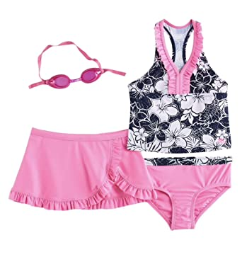 5d8b879b55066 Image Unavailable. Image not available for. Color: ZeroXposur Girls Tankini  Top, Bottoms & Skirt Swimsuit ...