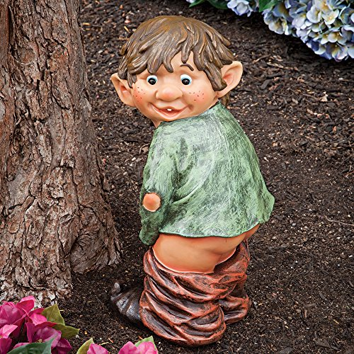 "Bits and Pieces – ""Caught with His Pants Down"" Garden Elf statue – Naughty Garden Elf Yard art, Funny Gnome or Elf – Polyresin Statue Measures 13-1/2″ high x 5″ wide"