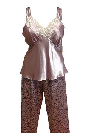 0f264f789950 Ladies Dusky Pink Lace PJs Size 22  Amazon.co.uk  Clothing