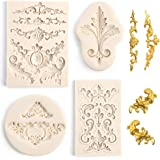 LOVEINUSA 4 Pcs Baroque Silicone Fondant Molds, Filigree Mold 3D Sculpted Flower Cake Molds for Decorating Candy Polymer…