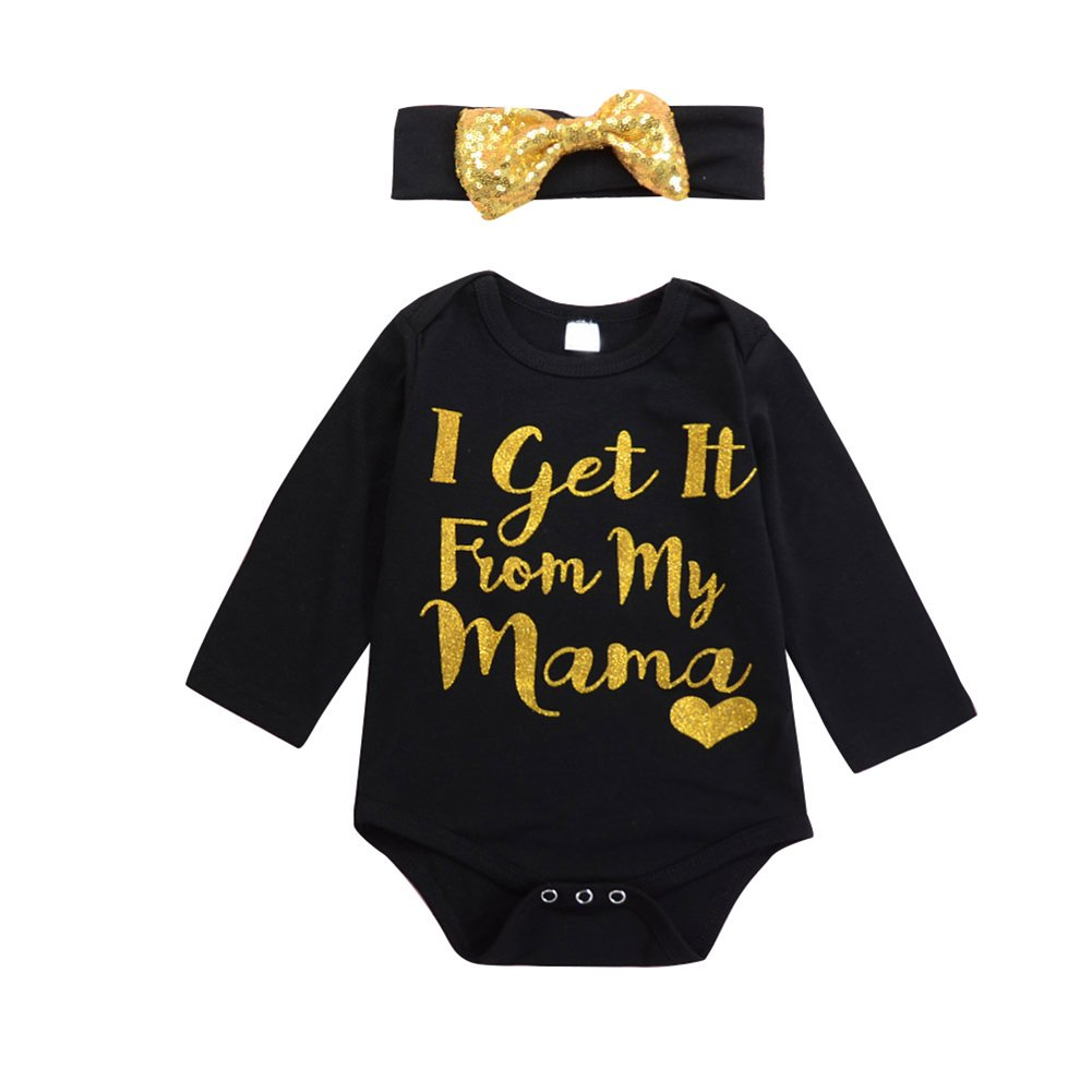 preliked I Get It from My Mama Funny Mom Baby Infant Creeper Bodysuit + Headband