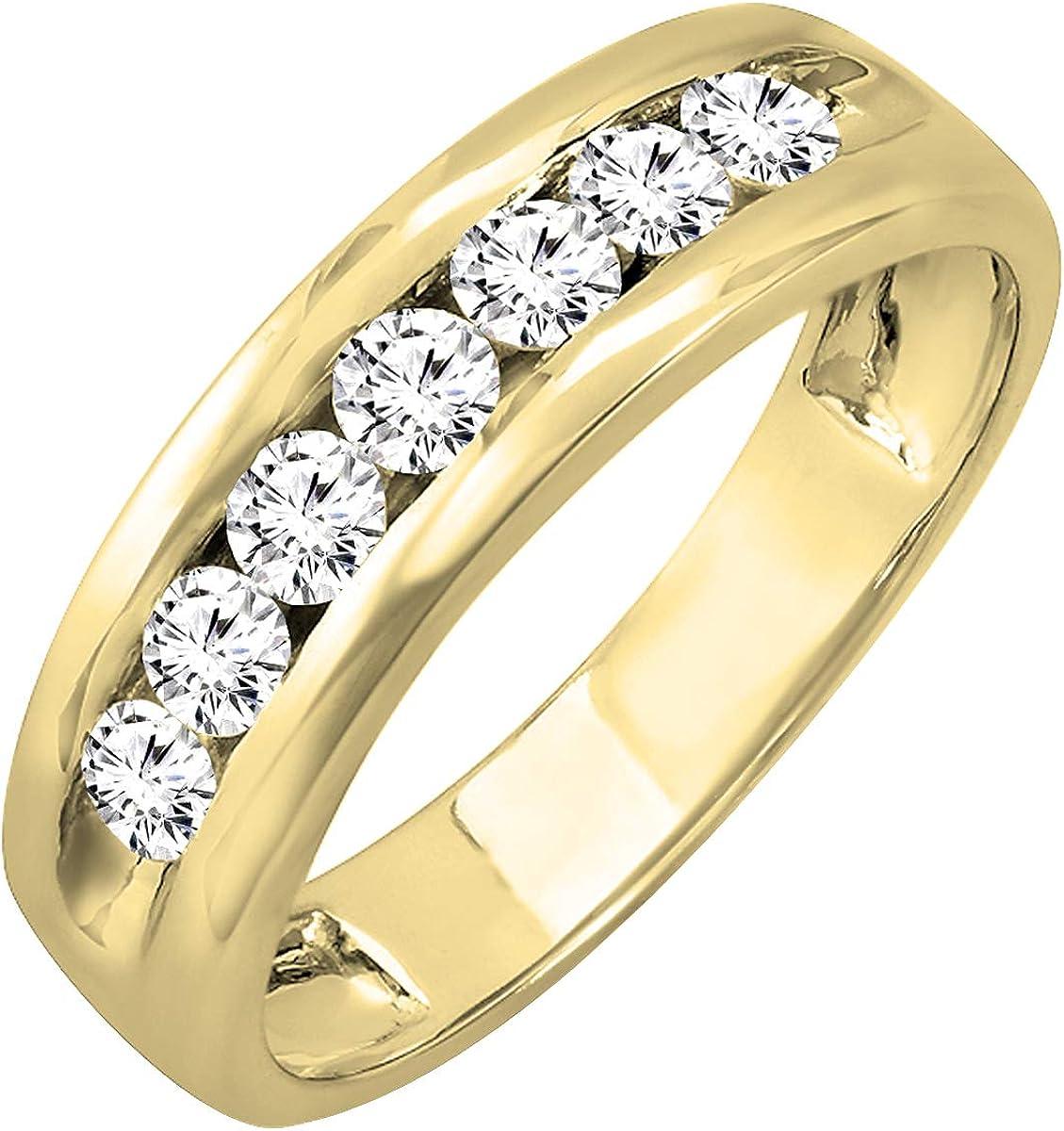 Dazzlingrock Collection 1.00 Carat (ctw) 14K Gold Round Lab Grown White Diamond Mens Anniversary Wedding Band 1 CT