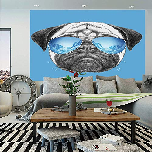 SoSung Pug Removable Wall Mural,Pug Portrait with Mirror Sunglasses Hand Drawn Illustration of Pet Animal Funny,Self-Adhesive Large Wallpaper for Home Decor 66x96 inches,Pearl Blue ()