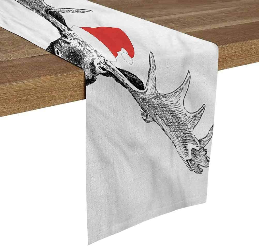 SoSung Linen Burlap Table Runner Dresser Scarves 14x72 Inch Moose,Christmas Animal with Antlers for Dining Room Kitchen Table Decor,Outdoor or Indoor Parties
