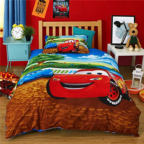 Ln 3 Piece Kids Cute Red Lightning McQueen Duvet Cover Twin Set, Cars Movie Bedding Racecar Themed Fun Racing Car Pattern Black Tires Blue Vehicle Adorable Brown Green, Polyester
