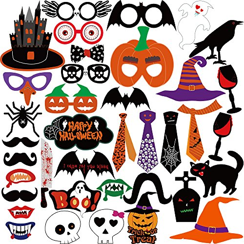 Pictures Of Halloween Decorations (Kuuqa 38 Pack Halloween Photo Booth Props Kit Halloween Party Decorations)